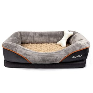 JOYELF Large Memory Foam Dog Bed, Orthopedic Dog Bed U0026 Sofa With Removable  Washable Cover And Squeaker Toys As Gift EASY To CLEAN And  MAINTAIN:①Removable ...